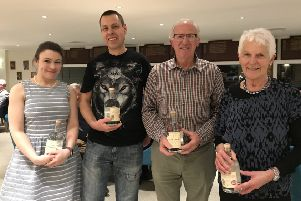 Winners of Kelso Curling Club's Lilliard Gin Invitational Bonspiel; from left, Alyson Brooker, John Sinton, Jock Craig and Morven Stone.