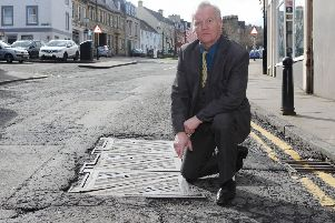 Councillor Davie Paterson in Howegate in Hawick.