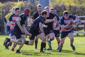 A red-and-white Peebles breakout against Biggar (picture by Stephen Mathison)