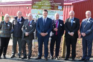 Jamie Hepburn, Scottish Government minister for business, fair work and skills, fourth from left, with, from left, councillors Clair Ramage, George Turnbull, Davie Paterson, Mark Rowley, Watson McAteer and Stuart Marshall at the new Galalaw Business Park units at Hawick.