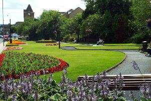 Bank St Gardens, Galashiels ... normally blooming lovely in the summer.