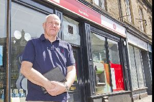 Councillor Watson McAteer at Hawick's Sandbed Post Office.