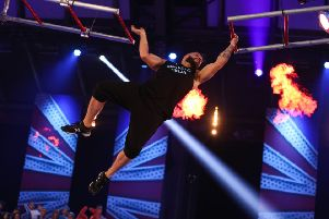 Ali Hay taking on one of the obstacles in Saturday's Ninja Warrior UK eliminator round.