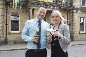 Bourtree boss Richard Conway and wife Terri celebrating the Hawick pub's reprieve from a planned sell-off.