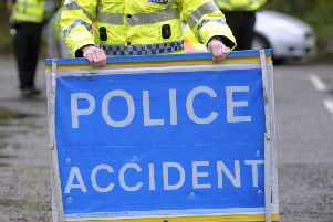 The A7 is closed at Boleside due to a two-car collision