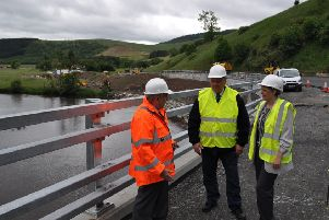 Councillors Stuart Bell, Gordon Edgar and Shona Haslam at the notorious Dirtpot Corner on the A72.