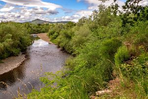 looking down the River Teviot by Denholm. With Ruberslaw in the distance.
