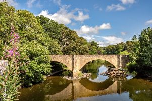 the three-arched bridge which carries the A68 over the River Teviot at Ancrum