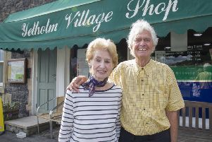 Owners of Yetholm's village shop Barbara and Roy Maltby.