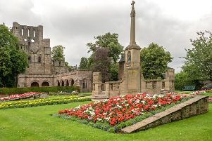 colourful flower beds at Kelso Abbey