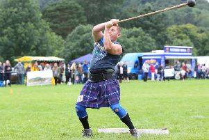 Neil Elliot throwing the hammer at Peebles Highland Games in 2016.