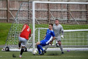 Gala's Scott Taylor-McKenzie on the attack in the Newton Stewart goalmouth (picture by Alwyn Johnston)