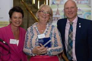 Jedburgh's Georgiana Craster collects her Paths for All award.