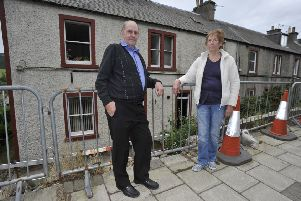 Sandy and Jane from Walkerburn whose front wall was demolished in the crash six years ago.