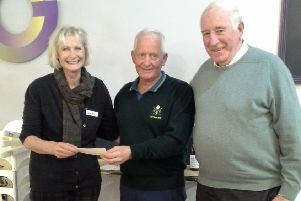 Seven teams of golfers, each comprising four players, played in a Texas scramble to raise money for the charity PATCH (Palliation And The Caring Hospital).'The competition was played at the Monksford course'Pictured, from left: Dr Pamela Levack, Albert Thompson and Dr Gordon Paterson.