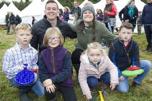 Yetholm Principals Stefan Cameron and Emma Wauchope helped organise the childrens games and prizes with James and Orla Thomson, Lily-Mae Weekly and Liam Thomson