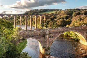The preserved bridges of the River Tweed at Leaderfoot