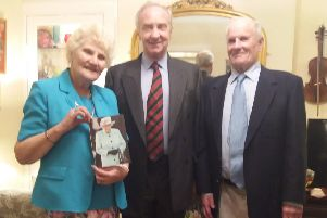 The Duke of Buccleuch, lord lieutenant of Roxburgh, Ettrick and Lauderdale, turned up on the doorstep of Earlston couple Ed and Irene Falconer to present themm with a card on behalf of the Queen on  the occasion of their diamond wedding.