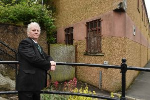 Councillor Davie Paterson outside the old Glenmac mill in Hawick.