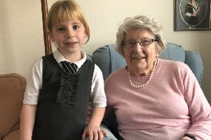 Katie Crichton, the youngest P1 pupil at Burgh Primary School in Galashiels, and Agnes Hogarth, one of the school's oldest living alumni.