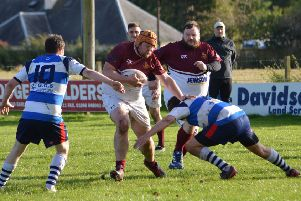Earlston, in blue and white, were ahead, before Gala YM battled back (picture by Brian Gould).