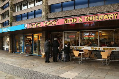 Cafe Troy anger at Greggs outdoor seating - Edinburgh