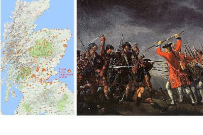 Map shows 400 British Army camps in Scotland after Culloden