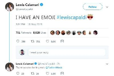 Lewis Capaldi given own emoji on day face appears on Duke