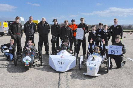 Pupils and staff from Eyemouth High School and Galashiels Academy with Borders College lecturers at the Greenpower Racing Scottish Heats at East Fortune.