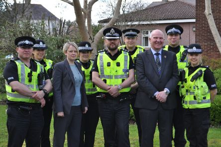 SBC Leader Councillor Shona Haslam and Councillor Watson McAteer, Chair of the Police, Fire and Safer Communities Board, alongside Local Area Commander Andy McLean (centre) and the community policing team