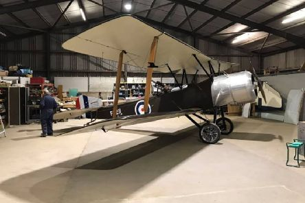 The Sopwith 11/2 Strutter biplane that a group of enthusiasts have built from scratch.