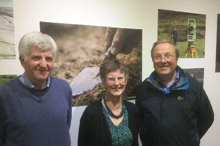 Much to celebrate...Trevor Cowie, Joyce Durham and Stephen Scott prepared the PAS Times exhibition which is on show at Tweeddale Museum and Gallery until November 30.