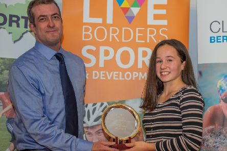 Around a dozen Special Achievement awards were presented during the eveing, including one to gymnast Maddy Rosher, from Stuart McFarlane (picture by Mark Kinghorn)