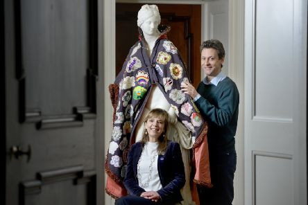 Artist Hazel Smith with her cloak, pictured in Marchmont House with Hugo Burge, Director of Marchmont Ventures.'(Photo: Colin Hattersley)