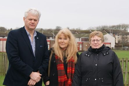 Councillor Alan Fakley with Theresa Ritchie and Jane Lawie outside Meethill School