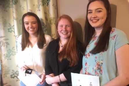 Anna Strachan, Katie Whyte and Hannah Corbett with their Gold Brooches