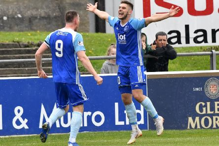 Jack Leitch celebrates scoring the winning goal for Peterhead (Pic by Duncan Brown)