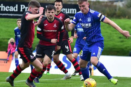 Peterhead's Rory McAllister tries to line up a shot against Airdrie (pic: Duncan Brown)