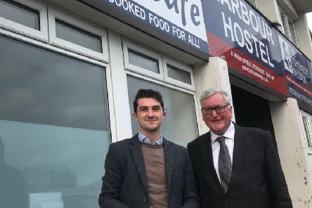 Paul Robertson, SNP Candidate for Banff & Buchan, and Fergus Ewing MSP, Scottish Government Cabinet Secretary for the Rural Economy, outside the Fishermen's Mission in Peterhead.