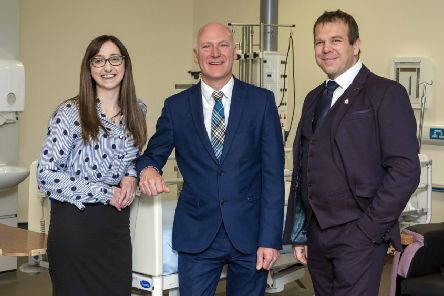 Just hours before the Bill was passed, Public Health Minister Joe FitzPatrick met two organ recipients at the Royal Infirmary of Edinburgh, Clare Blake and Jamie McGregor. (Pic: Gareth Easton)
