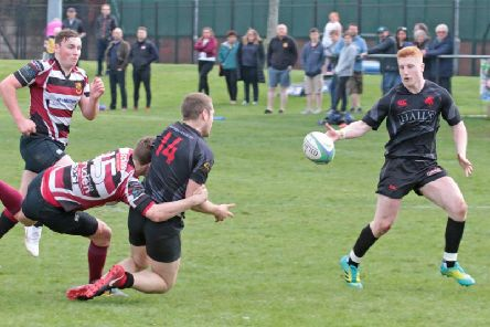 The prolific Matthew Stewart (1st right) is leaving Biggar Rugby Club this summer to join Glasgow Hawks (Pic by Nigel Pacey)