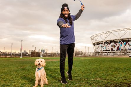 Working with Personal Trainer Born Barikor, pet charity Blue Cross has created a new fitness boot camp called 'Work Out Like A Dog' which sees humans doing exercises you would normally see dogs doing. Pic: Blue Cross.
