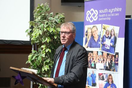 Councillor Brian McGinley addresses the audience at the launch of South Ayrshire Carers Strategy