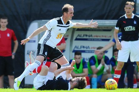 20-07-2019. Picture Michael Gillen. AYR. Somerset Park. Ayr Utd v Falkirk FC. The Scottish League Cup, SPFL Betfred Cup 2019 - 2020, Group G. Mark Kerr 4 fouls Aidan Connolly 7.