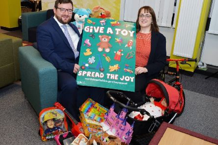Councillor Paul Kelly and Martine Nolan launch the Give a Toy appeal