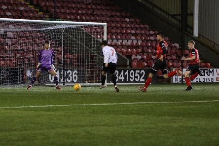 Jack Boyle scores Clyde's first goal against Elgin City (pic by Craig Black Photography)