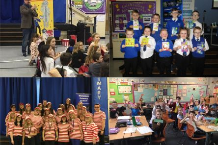 A selection of images as Whitelees Primary in Abronhill celebrated their love of reading on World Book Day,  which included a visit from author David MacPhail