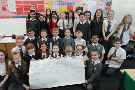 Class 5b from Cumbernauld Primary with their donation