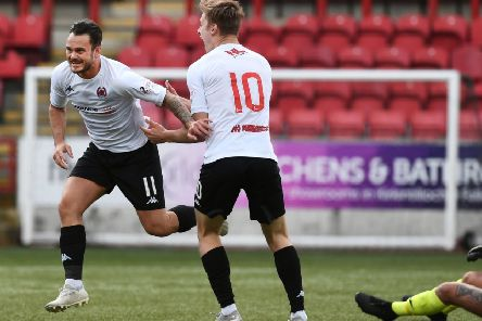 Ally Love celebrates after scoring in Clyde's semi-final win over Edinburgh City