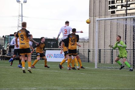 Martin McNiff heads the winner on Annan's last visit to Broadwood (pic: Craig Black Photography)